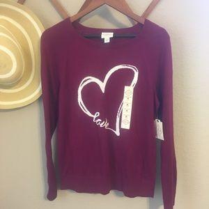 Women's Love in a Heart Maroon Sweater
